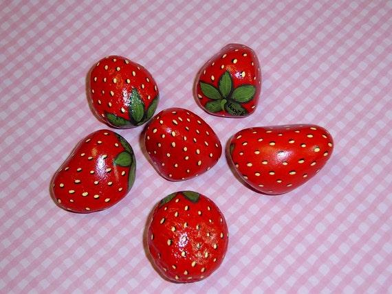 Red Strawberries, Painted rocks, Home and living, kitchen decor, gift for gardener, Outdoors and Garden, Planter, bird deterrent, garden art