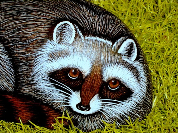 Raccoon spring garden decor woodland wildlife gift  for the gardener weatherproof hand painted rocks by Rockartiste on Etsy