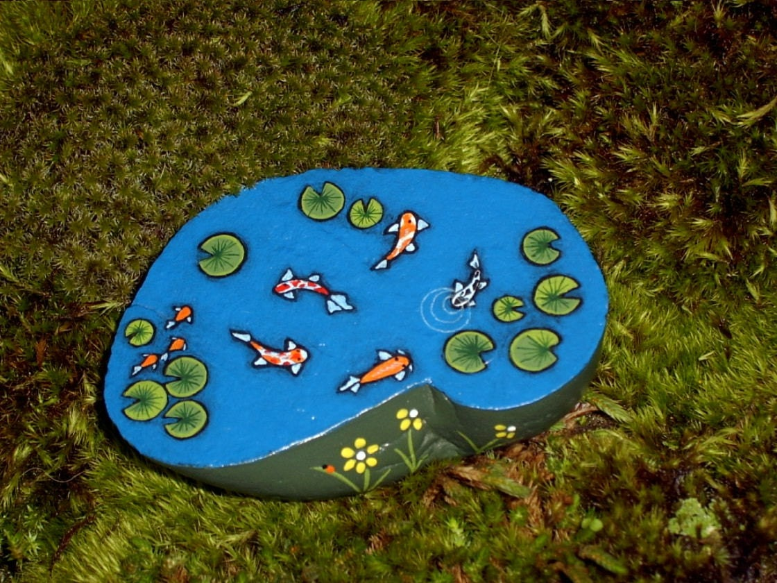 Koi Pond Very Small Miniature Painted Rock Dollhouse