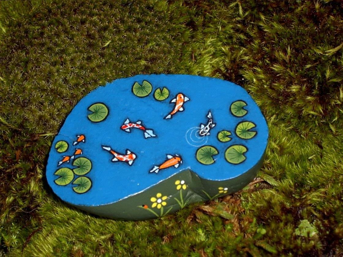 Koi pond very small miniature painted rock dollhouse for Koi pond rocks