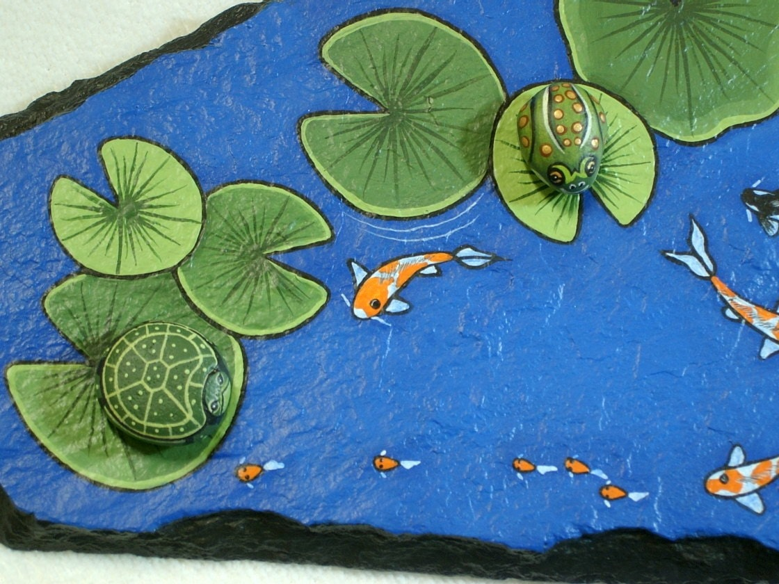 Large koi pond rock garden decor hand painted flagstone rock for Large outdoor decorative rocks
