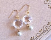 pearlized - earrings of vintage and recycled jewelry