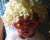 Kiddy Lidders - Adorable Curly Blond Crochet Hair Hat / Wig - Handmade - - Perfect for Cold Weather