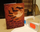 3d Vampire Bats Flying Over the Moon Halloween Card - with 3d glasses