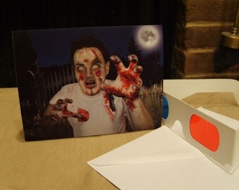 3-D Brain-Eating Zombie Card - BRAAAIIIINNNNSS - with 3-D glasses