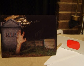 3-D (It's Alive) Hand Coming Out of Grave Halloween Card - with 3-D glasses
