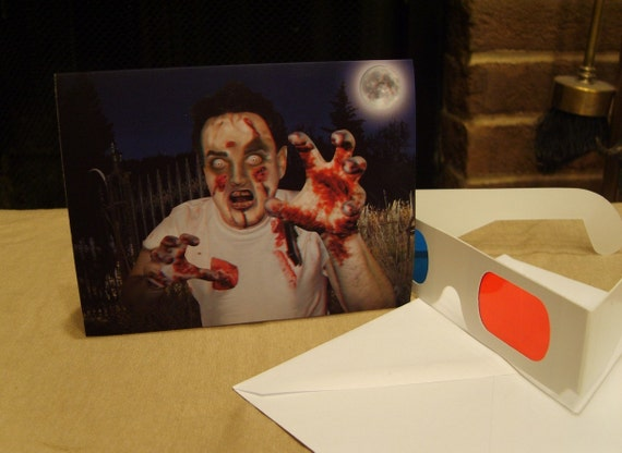 3-D Brain-Eating Zombie Card - BRAAAIIIINNNNSS - with 3-D glasses