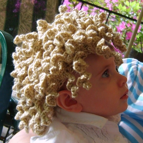 Kiddy Lidders - Adorable Curly Light Brown Crochet Hair Hat Wig - Handmade - Perfect for Winter