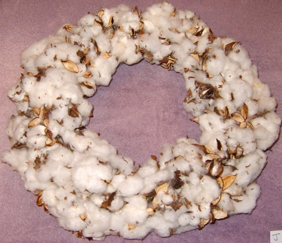 handmade Cotton Boll Wreath - SC grown cotton wreath-J