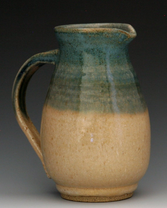 Small Pitcher or Large Creamer in Bone and Turquoise