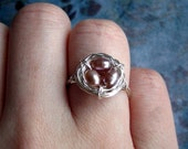 Bird's Nest Ring on Etsy--Sterling Silver with Pink Freshwater Pearl Eggs, Perfect Gift for Bridesmaids, Teachers, Mother's Day