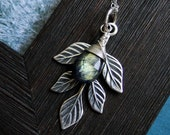 Lorien Blue Labradorite Necklace with Leaf Accent on Etsy--Luxe Collection, CircesHouse