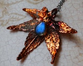 Autumnfire Real Maple Leaf and AAAA Grade Labradorite Necklace on Etsy--Luxe Collection, CircesHouse