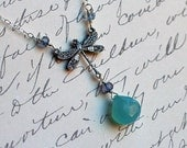 Blue Chalcedony Necklace, Dragonfly Necklace with Iolite - Blue Dragon by CircesHouse on Etsy
