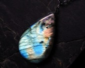 "Labradorite Necklace, Big Labradorite, Long Necklace, Oxidized Sterling Silver - ""Sorceress"" by CircesHouse on Etsy"