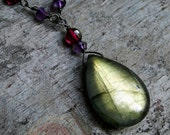 RESERVED for bellgrish--Labradorite Necklace with Garnet, Amethyst, and Matching Earrings - Forest by CircesHouse on Etsy
