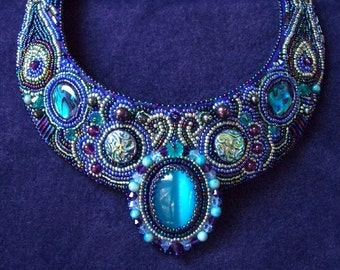 "Bead Embroidered Collar, Bead Embroidered Necklace by CircesHouse on Etsy - ""Salome"""