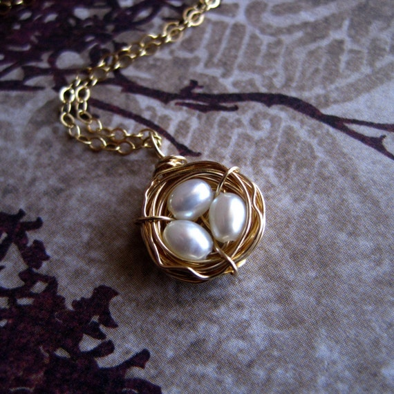 Bird's Nest Necklace on Etsy, 14k Gold Filled with Ivory Pearls by CircesHouse, Perfect for Bridesmaid or Teacher Gift