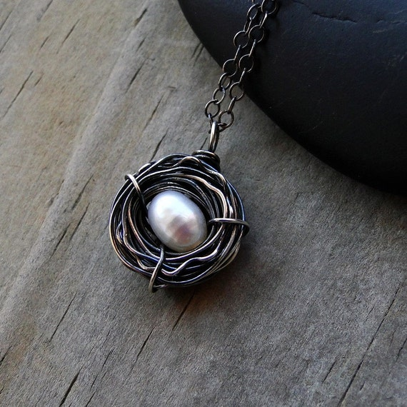 "Bird Nest Necklace, One Egg, Oxidized Sterling Silver, Oval Pearl, Perfect Baby Shower Gift - ""Only Child"" by CircesHouse on Etsy"