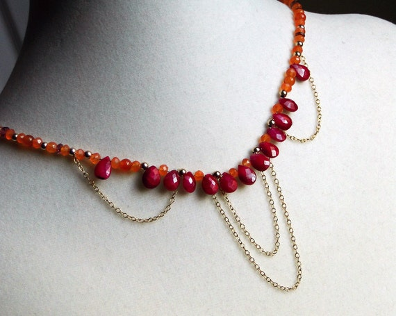 """Ruby Necklace, Carnelian Necklace, 14k Gold Fill--""""India"""" by CircesHouse on Etsy"""