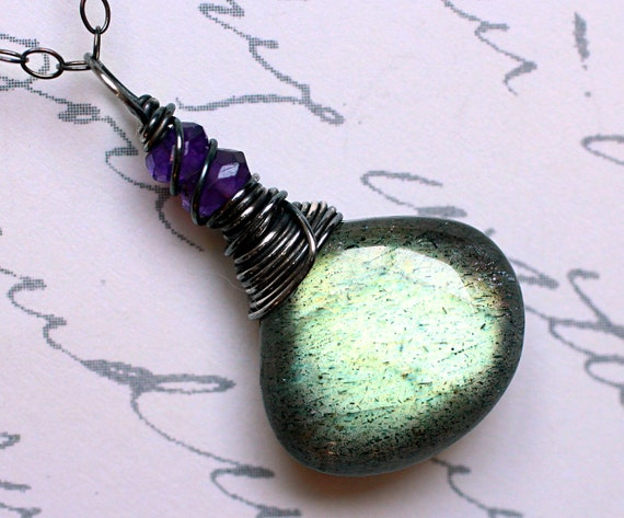 Labradorite Necklace with Amethyst on Oxidized Sterling Silver - Ivy by CircesHouse on Etsy