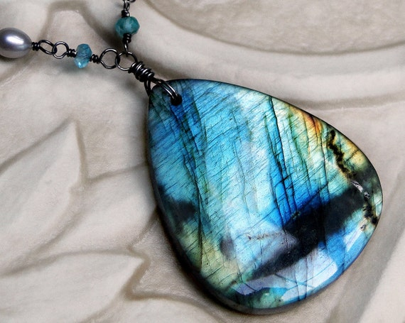 Labradorite Necklace, BIG Labradorite, Apatite, Pearl, Oxidized Sterling Silver  - Elemental by CircesHouse on Etsy