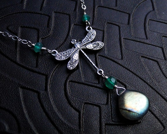 Labradorite Necklace, Dragonfly Necklace with Green Onyx - Dragon's Flight by CircesHouse on Etsy