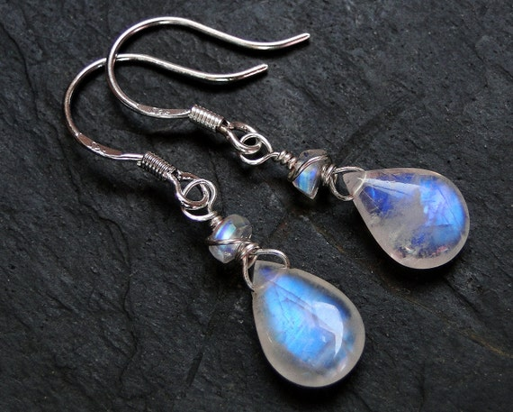 "Rainbow Moonstone Earrings, Sterling Silver--""Moondrops"" by CircesHouse on Etsy"