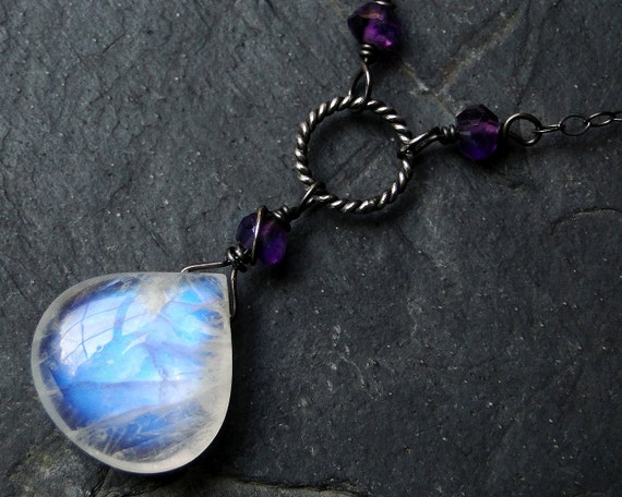 Rainbow Moonstone Necklace, Amethyst Necklace on Oxidized Sterling Silver - Purple Moon by CircesHouse on Etsy