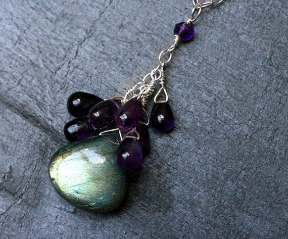 Labradorite Necklace with Amethyst on Sterling Silver - Vineyard by CircesHouse on Etsy