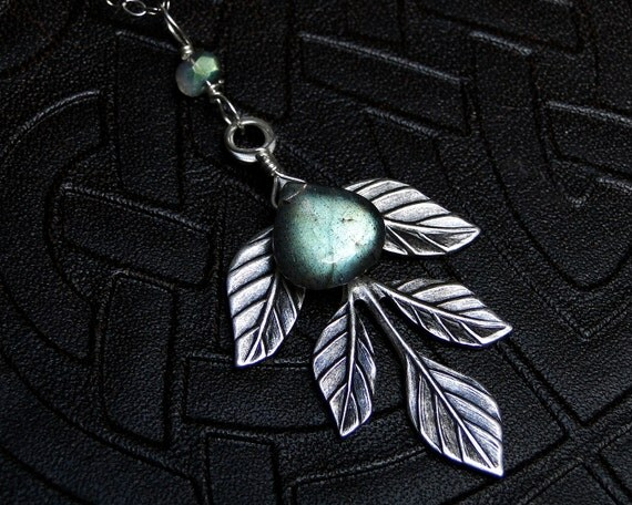 Labradorite Necklace, AAAA Grade Labradorite with Leaf Accent - Lorien by CircesHouse on Etsy