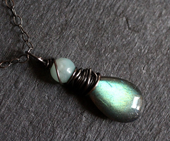 Labradorite Necklace with Amazonite on Oxidized Sterling Silver - Woodglow by CircesHouse on Etsy