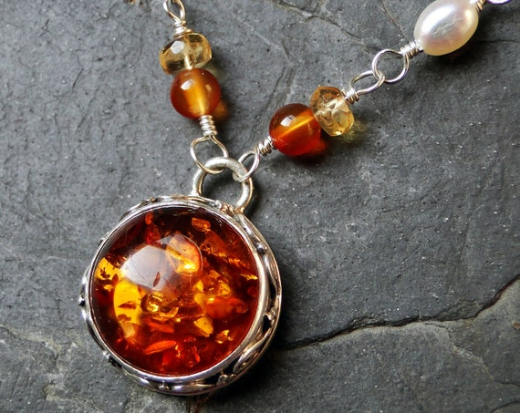 Amber Necklace with Citrine and Carnelian on Sterling Silver - Sunburst by CircesHouse on Etsy