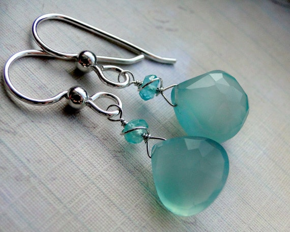 Aqua Chalcedony Earrings, Apatite, Sterling Silver - Cool Water by CircesHouse on Etsy