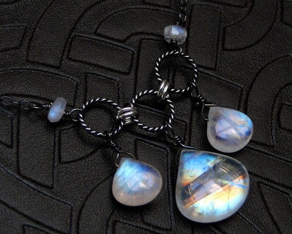 Rainbow Moonstone Necklace, AAAA Grade Moonstone on Oxidized Sterling Silver - Icewind by CircesHouse on Etsy
