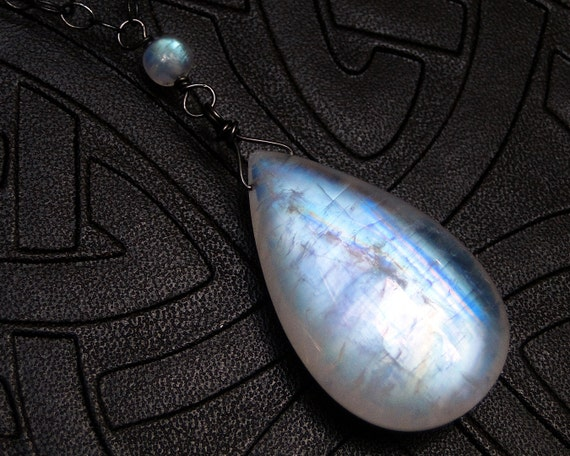 Rainbow Moonstone Necklace, BIG Stone, on Oxidized Sterling Silver - Odin by CircesHouse on Etsy