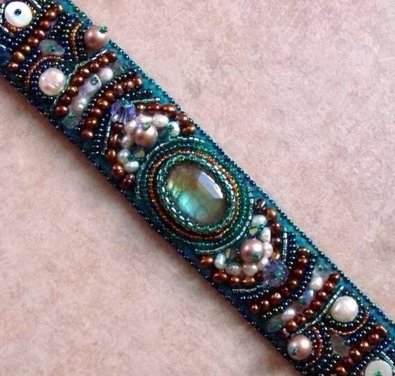 Mermaid bead embroidered cuff on etsyluxury embroidery