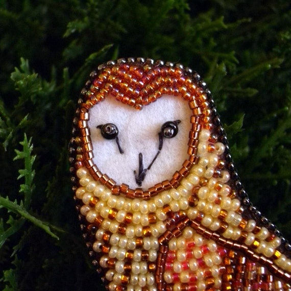 """Bead Embroidered Pin, Bead Embroidered Pendant by CircesHouse on Etsy - """"Ozrick"""""""