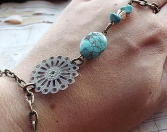 Bohemian  Bracelet Finger Ring Bracelet Boho Hippie Filigree Turquoise Stone Tribal Gypsy Antiqued Brass Coachella