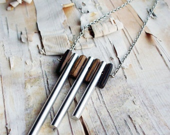 Silver Chimes 18 Inch Necklace Wood beads Wooden Beads Tribal Boho Musical Hippie Bohemian Panpipe Pan Pipe