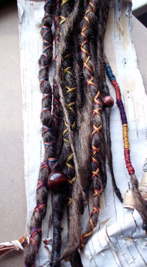 10 Custom Standard *Clip-in Synthetic Dreadlock Extensions Boho Dreads Hair Wraps & Beads