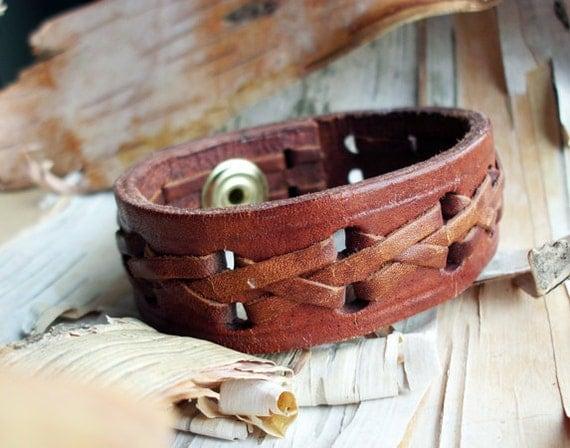 Bohemian Leather Braided Cuff Snap Bracelet Boho Hippie Tribal Bangle Brown