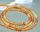 1/2 Strand of AAA Hessonite Garnet Micro-Faceted Rondelles 3.5mm - 4.5mm