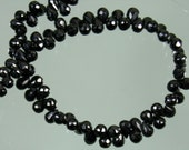 AA Black Spinel Faceted Briolette Drops 6-7mm