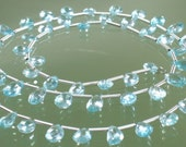 AA Blue Zircon Faceted Pear Briolettes