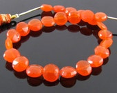 AA Carnelian Faceted Faceted Round Coins 8mm - 9mm