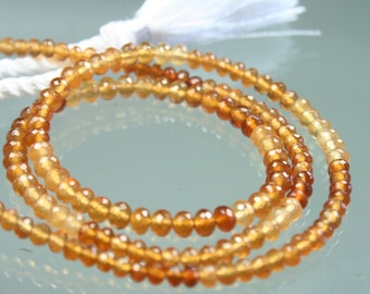 1/2 Strand of AAA Hessonite Garnet Micro-Faceted Rondelles 3mm - 4mm