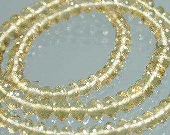 1/2 Strand of TOP QUALITY AAA Honey Quartz Micro-Faceted Rondelles 3mm - 5mm