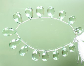 1/2 Strand Top Quality AAA Green Amethyst Faceted Pear Briolettes