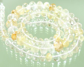 StoneyMarie 1/2 Strand AA Gold Rutilated Quartz Micro-Faceted Rondelles 6-9mm